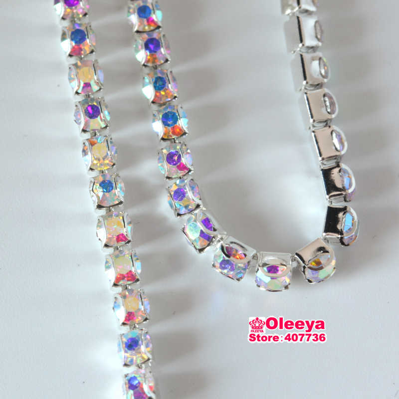 ... ss16 1 yard Clear AB Crystal AB D Claw Rhinestone Chain Glass Sew On  Trimming Intensive 0830f5b6a1e7