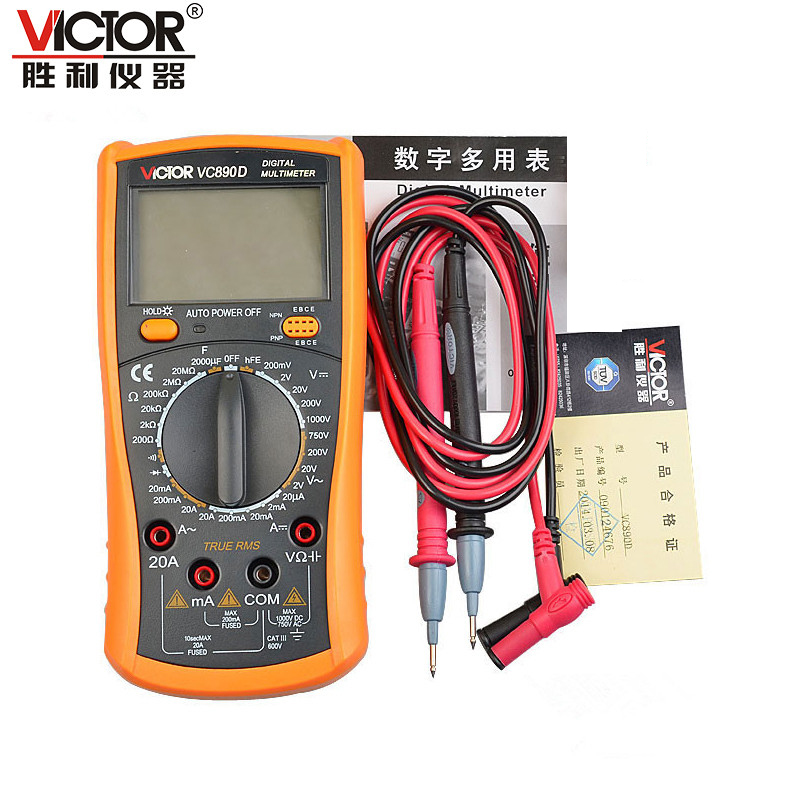 VICTOR VC890D Digital Multimeter True RMS 2000uF Backlight Tester Capacitance Meter victor dm6235p digital tachometer