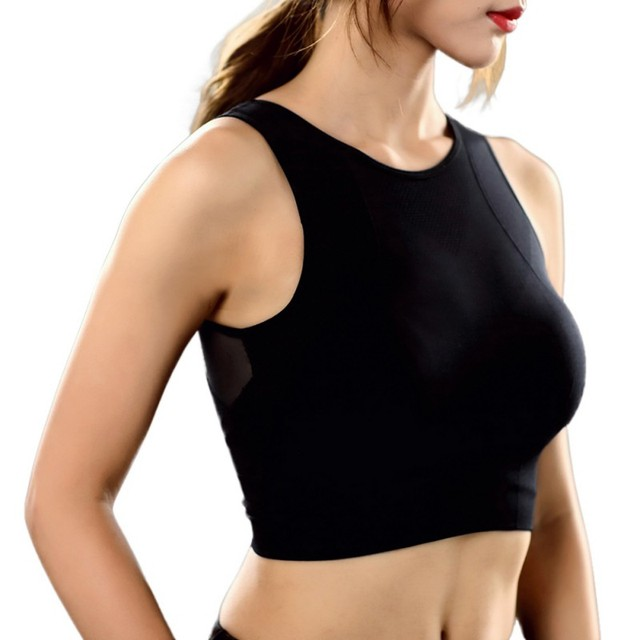 NEW Women Breathable Mesh Shockproof Padded Athletic Gym Running Seamless Fitness Yoga Vest Sport Bra Tops