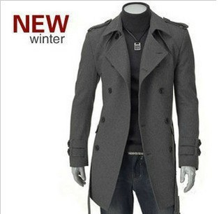 Free shipping men rench coat / long double breasted coat/jacket ...