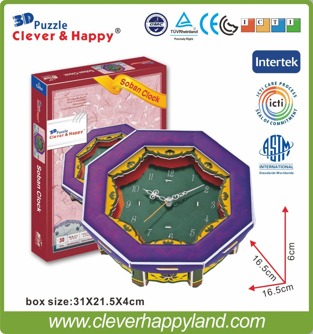 New 2014 Clever&Happy 3d puzzle Soban Clock adult drawings handmade model learning & education learning & education