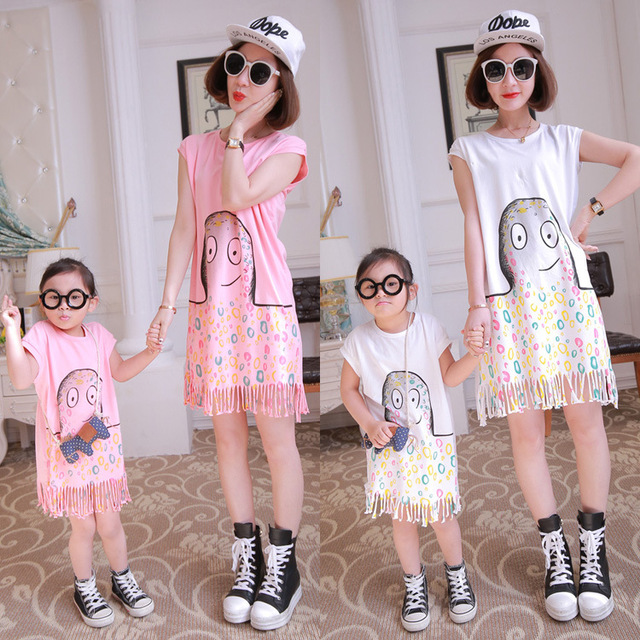 Fashion 100% thin cotton family look girl and mother fashion octopus tassel dress matching mother daughter clothes