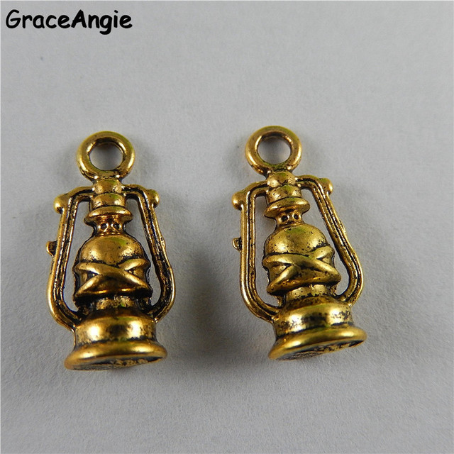 GraceAngie 20PCS Personality Handmade Crafts Bracelet Charm Antique Gold  Alloy Small Oil Lamp Pendant Metal Jewelry