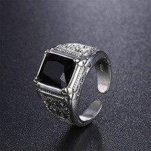 Alta calidad negro cristal Retro flor 925 Plata de Ley anillos de boda para hombres joyería para hombre anillo de dedo abierto No se desvanecen barato