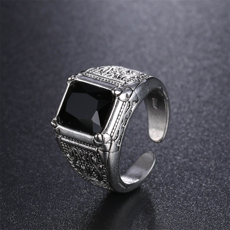 High Quality Black Crystal Retro Flower 925 Sterling Silver Men`s Wedding Rings Jewelry For Man Open Finger Ring No Fade Cheap