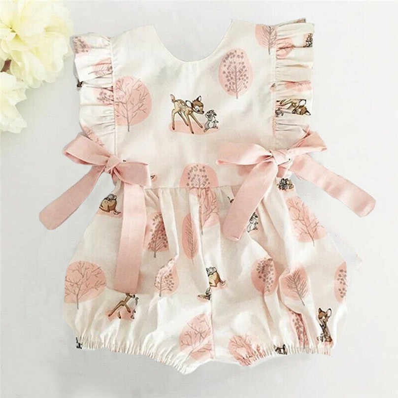 2019 New Newborn Baby Girls Ruffle  Bow Cartoon Deer Jumpsuit Outfits Sunsuit Baby Clothing Bow Simple cute v L13