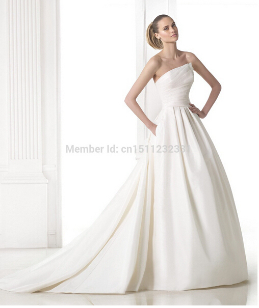 ff479955eb0 Newest Mikado silk princess wedding dres Custom-Made sexy modest A lline  strapless court train satin Wedding Dresses gowns