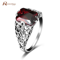 Fashion Finger Ring Red Created Garnet Women Charming Engagement Jewelry 925 Sterling Silver Filled Promise Rings