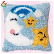 Latch Hook Cushion Kits Gift DIY Needlework Crocheting Throw Pillow Unfinished Yarn Embroidery Set Pillowcase star moon 4221(China)