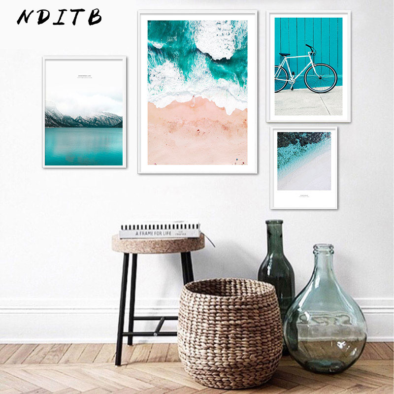 Scandinavian Tropical Ocean Waves Canvas Wall Art Poster Nordic Landscape Print Painting Decoration Pictures Modern Home Decor