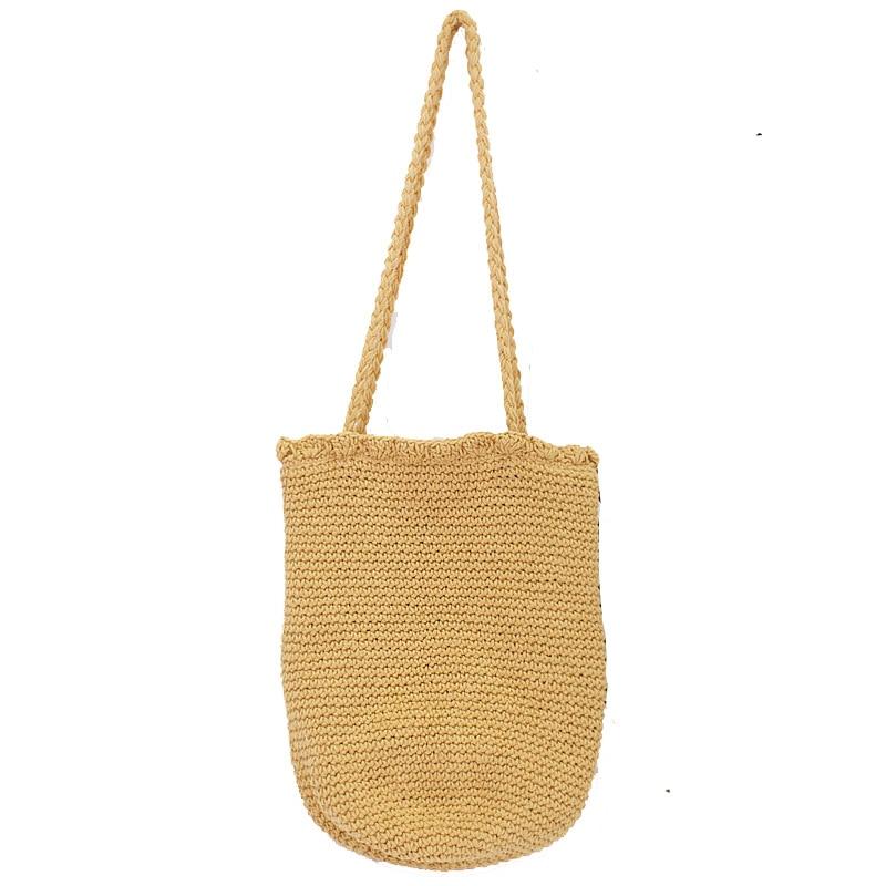 Women's Cotton Rope Woven Bucket Bag Casual Handmade Drawstring Handbag Bolsos Mujer Female Large Shoulder Travel Bags Korean
