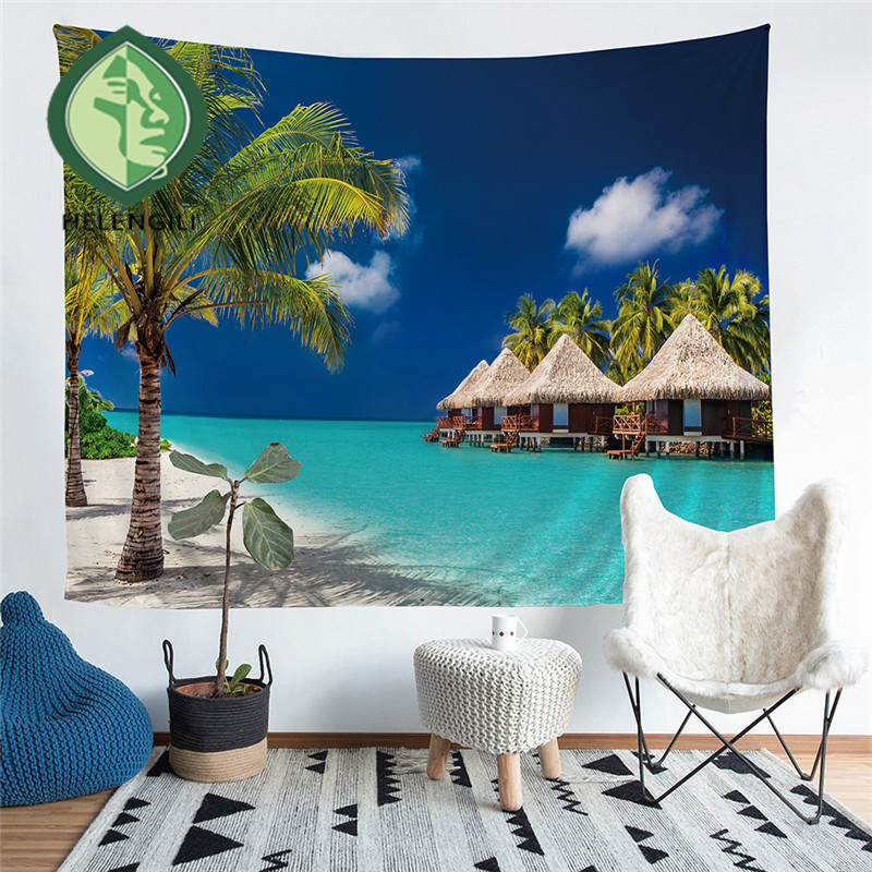 HELENGILI Home Furnishing Sea Wave Tapestry Wall Hanging Sandy Beach Picnic Throw Rug Blanket Camping Tent Sleeping Pad #HL-1