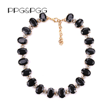 PPG&PGG 2017 Luxury Brand Crew Black Crystal Leaves Vintage Choker Collar Jewelry Chunky Statement Necklaces