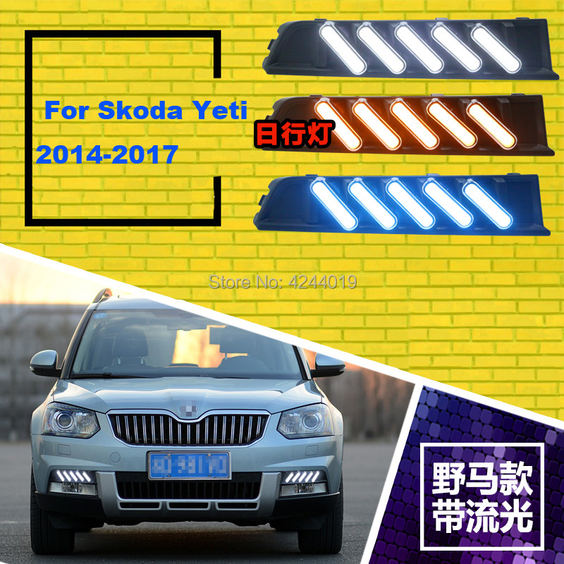 Fits 2014-2017 Skoda Yeti Day Light Fog Lights Fog Lamps LED Driving Light DRL Daytime Running Lights Yellow Turn Signal led drl day lights for mitsubishi asx 2013 2014 2015 daytime running light driving fog run lamp with yellow turn signal
