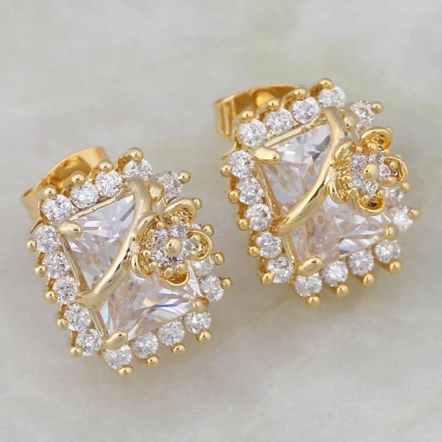 8a54b0d03 Latest Design Earrings White Cubic Zirconia gold Stud Earrings Cute Fashion  Bijoux JE043