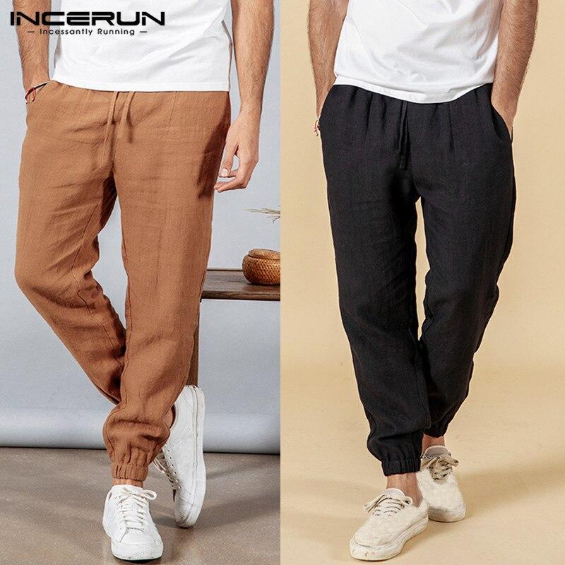 INCERUN 2019 Men Casual Pants Solid Sweatpants Baggy Vintage Cotton Drawstring Joggers Leisure Straight Trousers Men Plus Size
