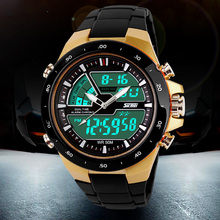 Fashion Mens Outdoor Sports Waterproof Watches PU Plastic Band  Analog Quartz Dual Display Shockproof  Wristwatch.