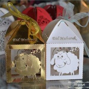 50 шт., с рисунком овцы, лазерная резка, Eid Mubarak, подарочные коробки, свободная лента