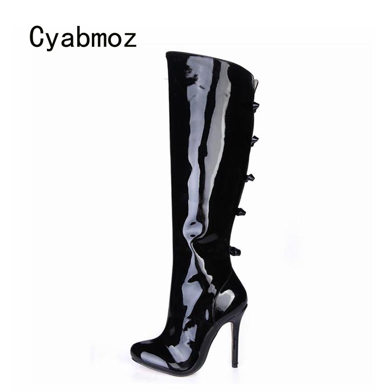 Cyabmoz Sexy Winter Boots Knee High Heels Women Shoes Woman Zapatillas Botas Zapatos Mujer Zip Bow For Ladies Party Club Shoes 2017 fashion winter platform boots knee high heels women shoes woman zapatillas botas zapatos mujer zip for ladies party shoes