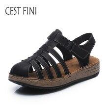 CESTFINI Zapatos Mujer Sandalias 2017 Sandalias de Gladiador Sandalias de Cuero Suave Cómodo Del Dedo Del Pie Cerrado Zapatos de Las Mujeres Hechas A Mano # SA002