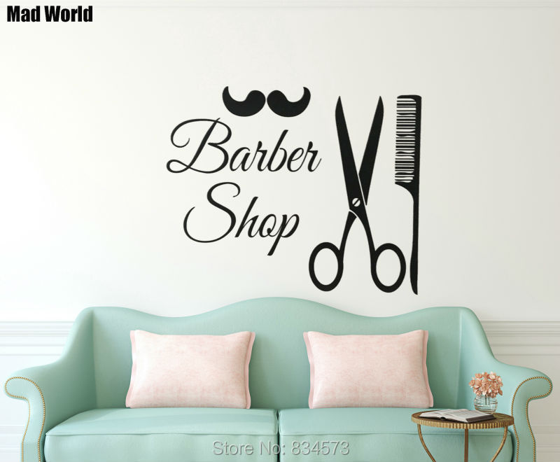 Mad World Barber Shop Hairdressing Mustache Wall Art Stickers Wall ...