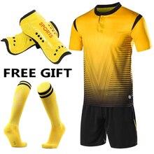 Детский комплект, детское футбольное Джерси, мужские футбольные комплекты для взрослых, Униформа,,, спортивные футболки для футбола, короткий костюм, свободные носки+ накладка на голень