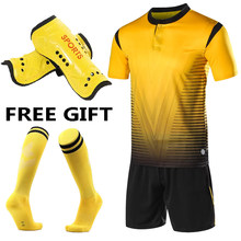 Children Kids Soccer Jersey Set Men Adult Football Kits uniforms 2018 2019 Futbol Training Shirts Short Suit free socks+Shin pad(China)
