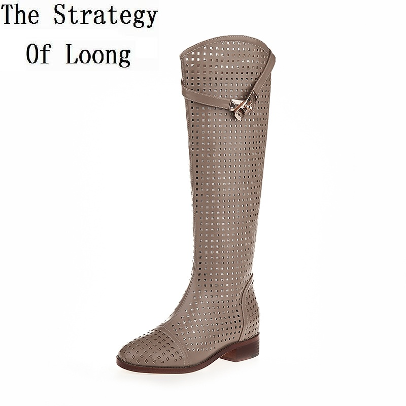 470996583d9 Women Genuine Leather Knee High Long Boots Low Thick Heels Lady Real ...