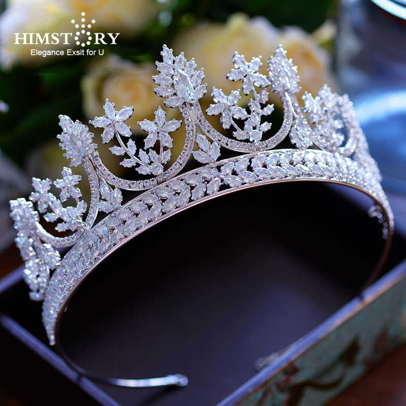 High-end Royal Queen Big Size Cubic Zircon Tiaras Crowns Luxurious Brides Princess Hairbands Full CZ  Wedding Hair Accessories