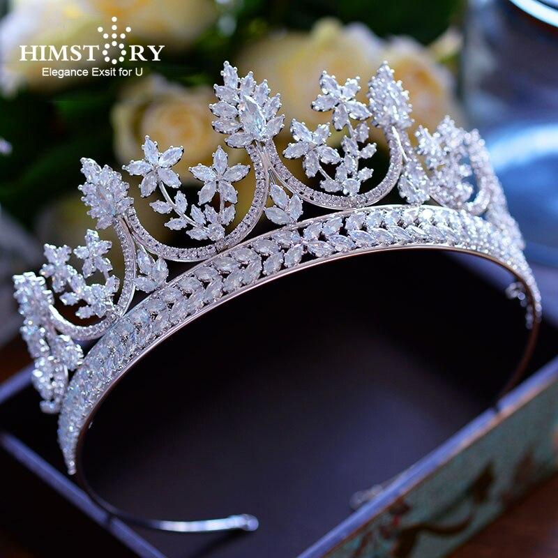 Haut de gamme reine royale grande taille cubique Zircon diadèmes couronnes de luxe mariées princesse bandeaux plein CZ accessoires de cheveux de mariage