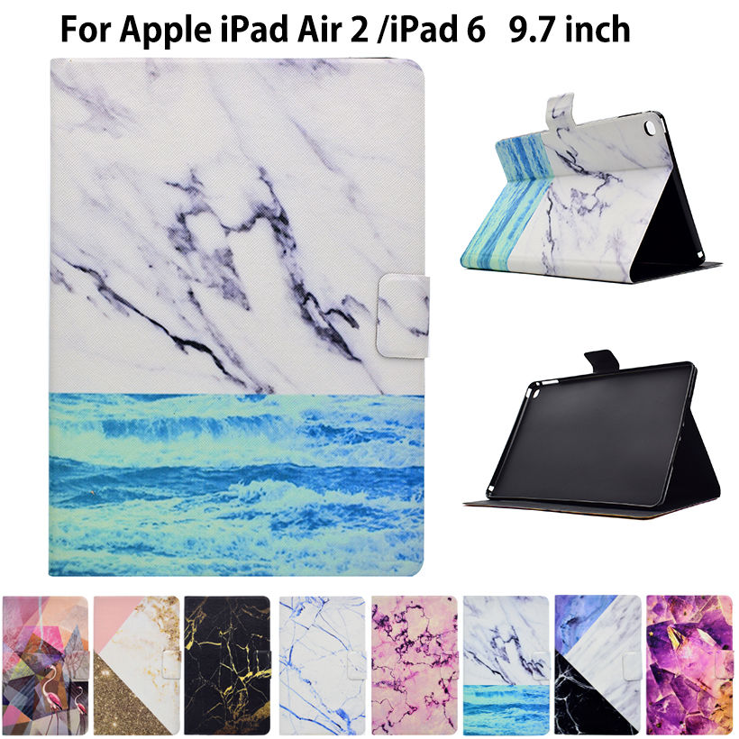 Fashion Marble Pattern Case For Apple iPad Air 2 iPad6 9.7 Case Smart Cover Funda Tablet PU Leather Flip Stand Shell Sleep&Wake ctrinews flip case for ipad air 2 smart stand pu leather case for ipad air 2 tablet protective case wake up sleep cover coque