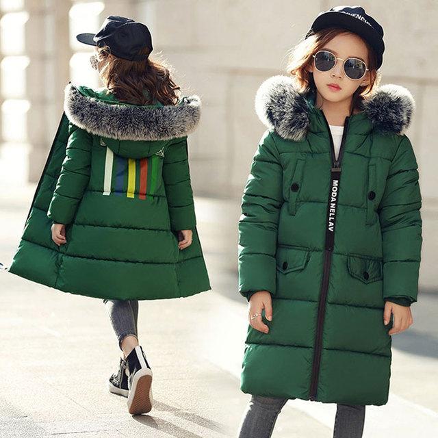 Для девочек-подростков детская одежда зимний длинный толстый Пуховик на хлопковой подкладке для детская одежда для девочек меховой воротник капюшоном пальто парки