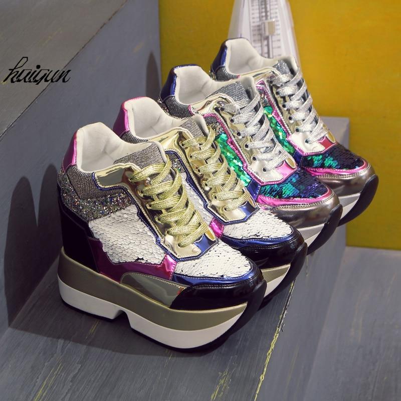 Señoras Nuevo Adornado Talón 2018 Bling Cuña Envío plata 13 Oro Tacón Cuero Mujeres Oculto Con Cm Lentejuelas De Las Libre Zapatos Sxq6Fqw