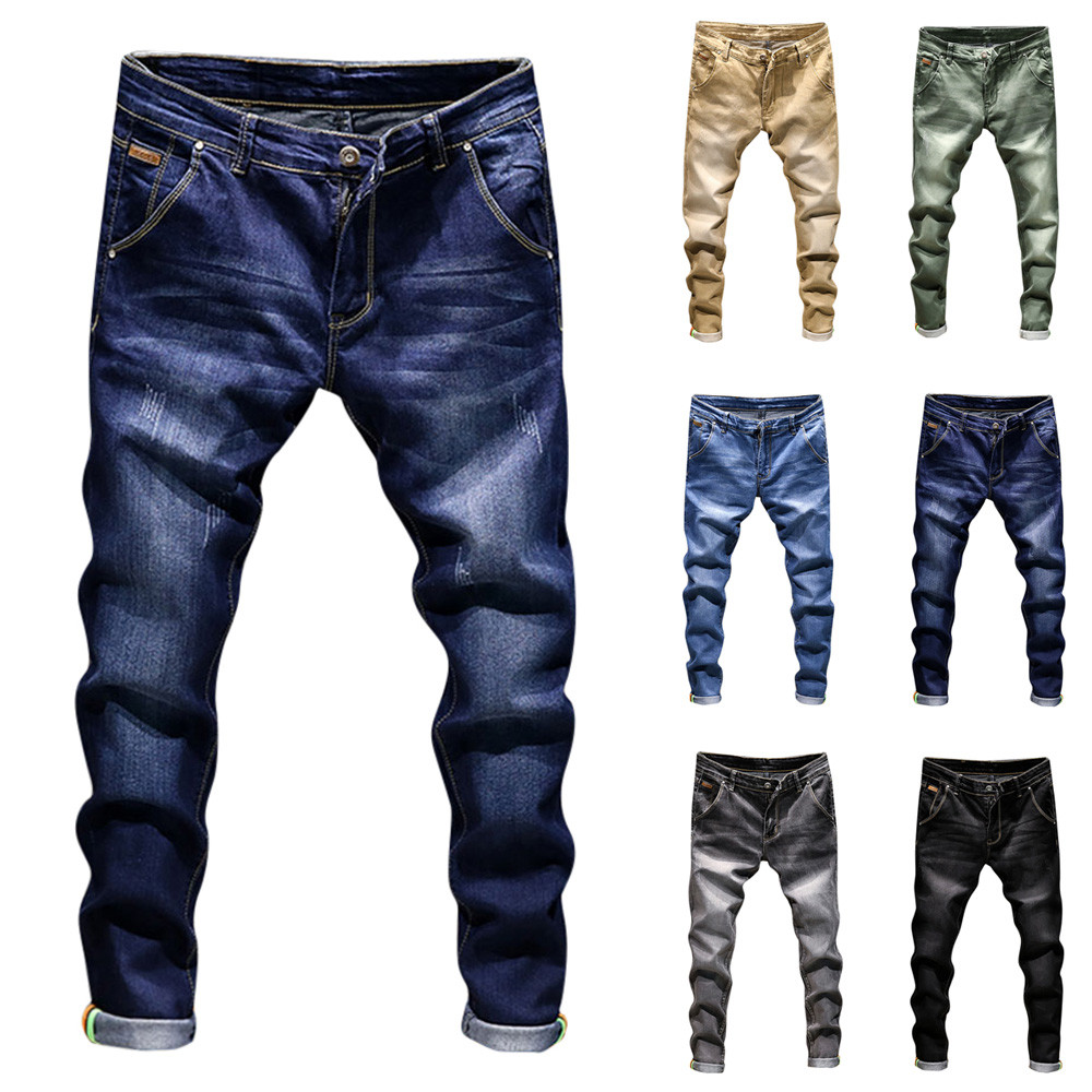 Men's Casual Autumn Winter Daily Denim Cotton Solid Vintage Wash Hip Hop Work Trousers   Jeans   Long Pants Gift