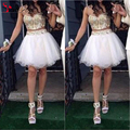 Stunning Two Piece Short Homecoming Dress Gold and White Luxury Gold Stones Spaghetti Straps Short Young Girl's party Dresses