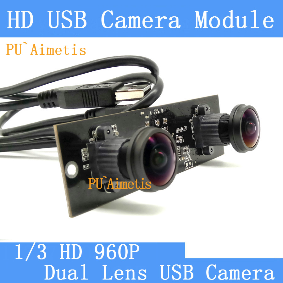 Surveillance Dual lens 5MP 1.8mm wide angle fisheye panoramic camera USB HD 960P 300W pixel USB camera module 960p usb camera 180 degree fisheye lens wide angle aptina ar0130 cmos usb video surveillance camera