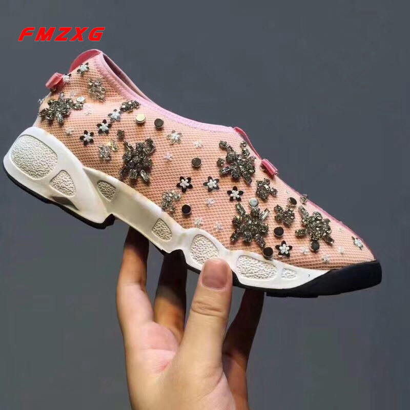Sneakers Women Fashion Rivet Crystal Flats Shoes Casual Slip On Shoe For Woman Espadrilles Comfor Luxury Brand High Quality Shoe