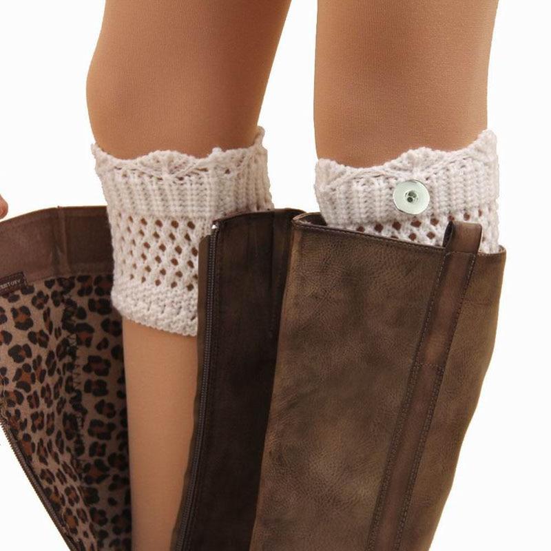 Women Girls 18mm Metal Snap Button Charms Knitting Wool Socks Winter Leg Warmers,Casual Knee Socks Boots Leg Warmers SK002