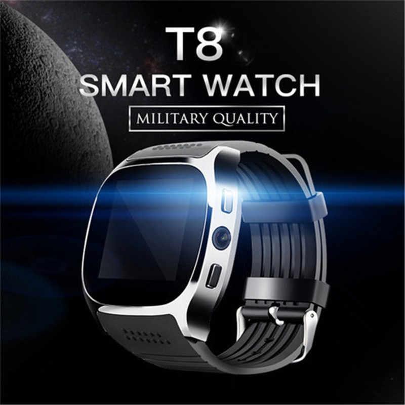 Relógio eletrônico t8 bluetooth relógio inteligente com câmera suporte cartão sim para android facebook whatsapp sincronização sms orologio uomo quente