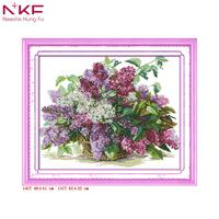 NKF Lilac flowers DIY hand embroidery cross stitch kits patterns printed canvas needlework set home decor New Year's product