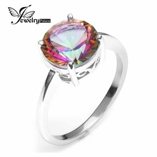 Model New Sizzling Sale three.09ct Real Rainbow Fireplace Mystic Topaz Ring Spherical Concave Lower S925 Sterling Silver Ring Classic Jewellery