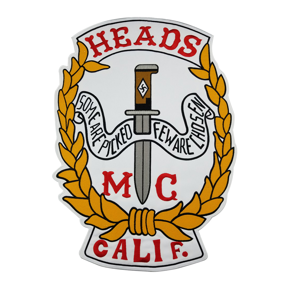 HEAD <font><b>MC</b></font> <font><b>PATCH</b></font> 45cm Vest Back Motorcycle <font><b>Patch</b></font> Embroidery Iron-On Cool Jacket Stickers On Clothes Biker Delicate <font><b>Patches</b></font> image