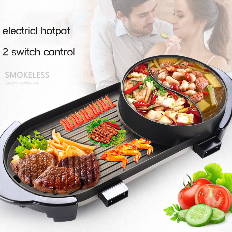 New Korean-style Smokeless Electric Grill Barbecue Oven Non-stick Chafing Dish Home Appliances Multi Cooker Hotpot BBQ