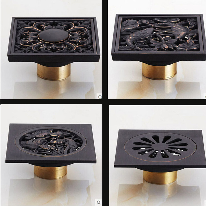 Square Floor Waste Grates 4 Styles Bathroom Shower Drain 4u0026quot; Oil Rubbed  Bronze(