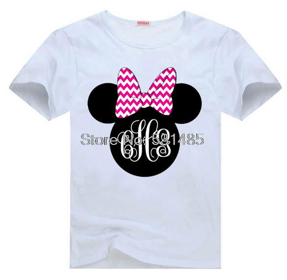 T Shirt Monogram Chevron Birthday Girl Personalized Mouse Head For Kids Children Boy E0546 Cartoon