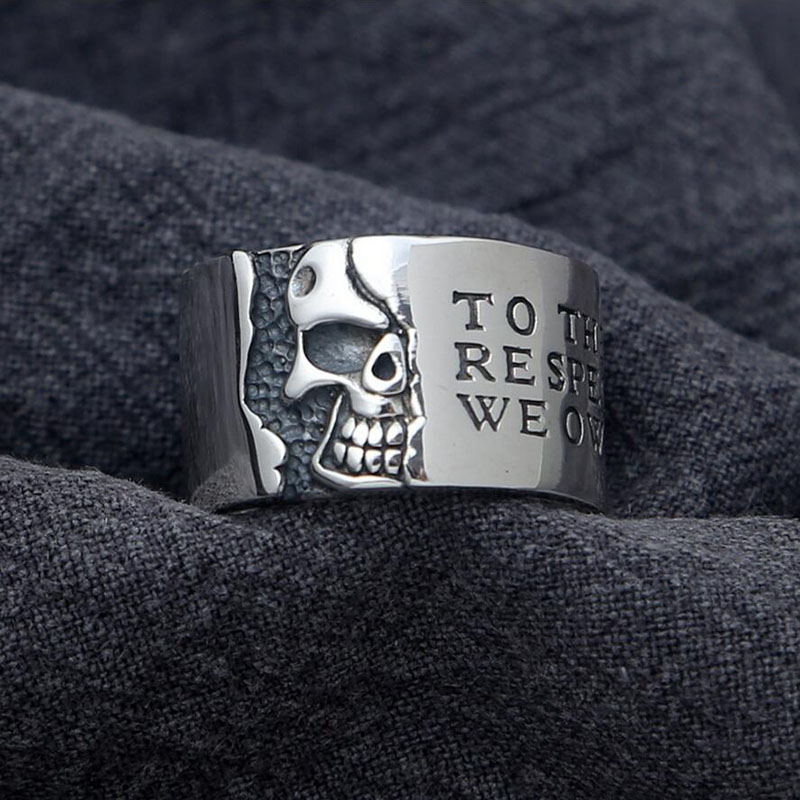 Half Face Skull trend letter Wide Ring 100% 925 sterling silver men women ring 2016 Christmas gift jewelry G92 - Genuine Hongkong Jewelry Store store