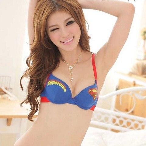 5727abba6b650 Superman sweet Korean series cotton thin section deep V gather girls  underwear comfort bra set free shipping