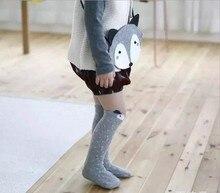 Bebes носки Мини Туалетный Лиса Носки Лиса Мешок Зима Девочка колено Высокие носки Медведь Без Скольжения Носки calcetines зорро Сми де Bebe