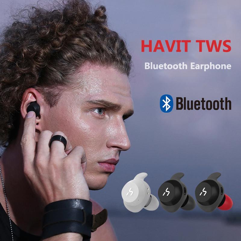 Per HAVIT HV-TWS Auricolare Bluetooth Vero di Sport Senza Fili del Trasduttore Auricolare Impermeabile Auricolari Stereo Con Microfono per Le Chiamate G1