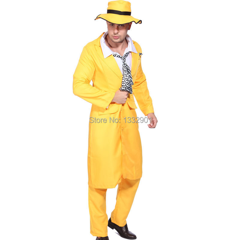 The Mask Costume 90s Jim Carrey Movie Yellow Gangster Suit Fancy Dress Outfit